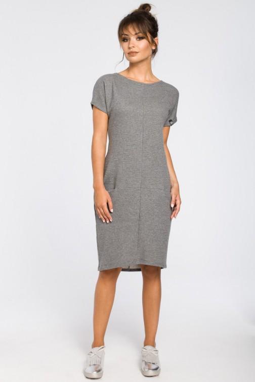 CM3188 Luźna sukienka midi z kieszeniami - szara