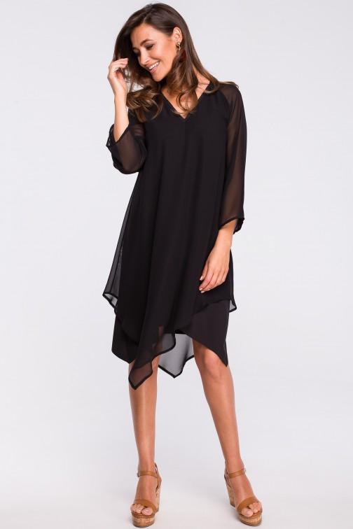 CM4366 Szyfonowa sukienka z asymetrycznym dołem - czarna