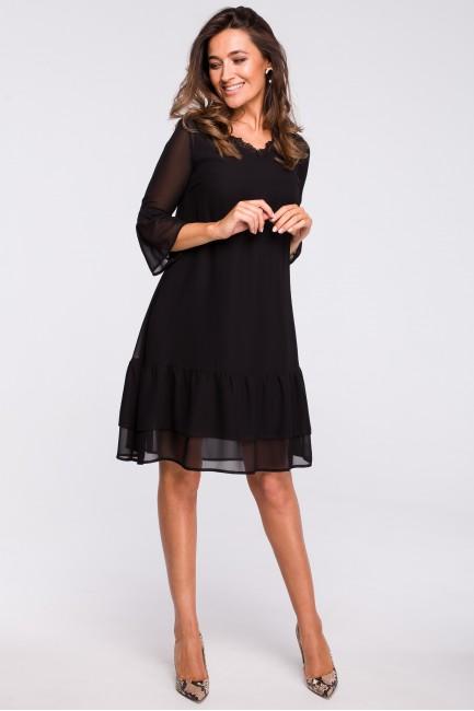 Sukienka szyfonowa z falbanami - czarna