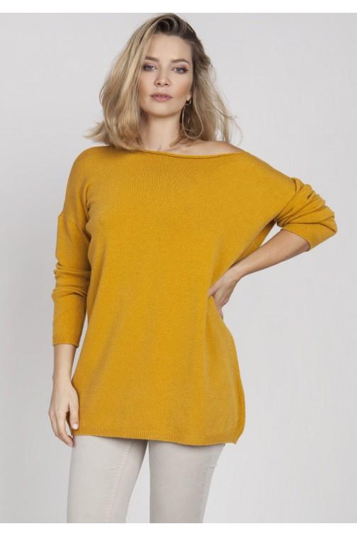 CM4379 Szeroka bluza dzianinowa - żółta