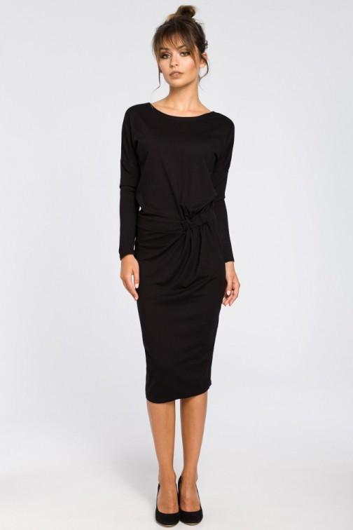 Ołówkowa sukienka z gumką w talii - czarna