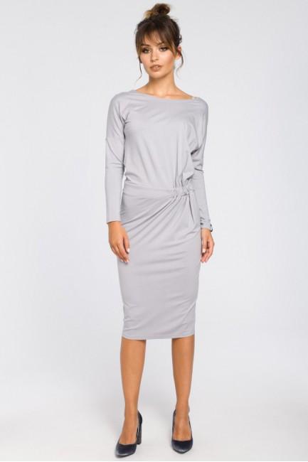 Ołówkowa sukienka z gumką w talii - szara