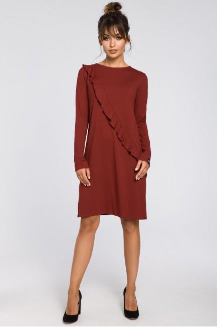 Trapezowa sukienka z falbanką - bordowa