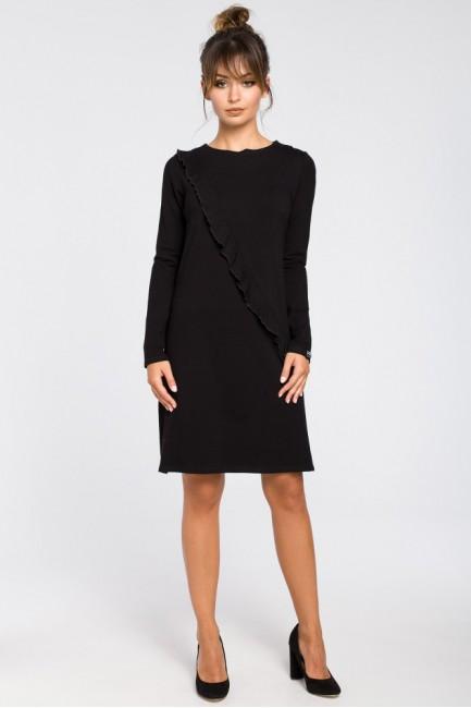 Trapezowa sukienka z falbanką - czarna
