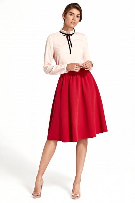 Rozkloszowana spódnica do kolan - czerwona