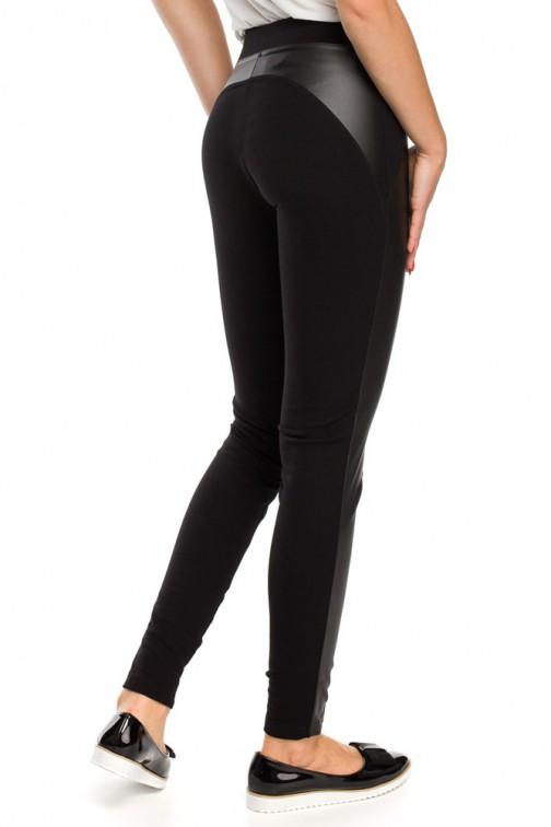 CM3147 Nowoczesne legginsy ze skórzanymi wstawkami - czarne